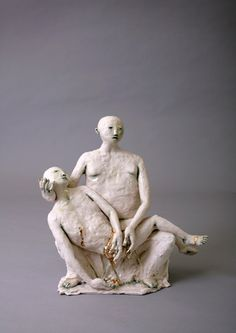 'Pieta' 40 x 40 cm. Porcelain with Gold Lustre; Claire Curneen