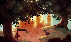 The gilded castle: Digital illustration by Sarah Marino #illustration #girl #castle