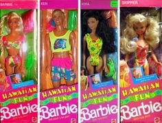 Barbie Hawaian Fun - I loved this Barbie's dolls when I was little! They came with solid perfume and it was awesome. 1980s Barbie, Vintage Barbie Dolls, Barbie And Ken, Vintage Toys, 1980s Childhood, My Childhood Memories, American Girl Doll Movies, Old School Toys, Ever After High