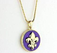 Fleur de lis Medallion Pendant Necklace -Purple and Gold #Unbranded #Pendant