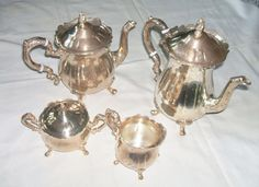 Vintage 1960 Leonard Silverplate Tea Set with Victorian by Andie83, $75.00