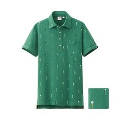 UNIQLO x Michael Bastian MEN MB Washed Short Sleeve Polo Shirt - Jade Golf Print