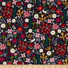 Petite Fleurs Swallows Navy from @fabricdotcom  Designed by Carolyn Gavin for Windham Fabrics, this GOTS certified organic cotton print fabric is perfect for quilting, apparel and home décor accents. Colors include navy, off white, yellow, green, orange, pink, purple and red.