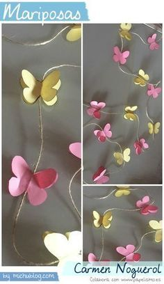 Manualidades papel mariposas Carmen Noguerol Butterfly Baby Shower, Butterfly Party, Butterfly Birthday, Butterfly Crafts, Paper Butterflies, Paper Flowers Diy, Diy Paper, Paper Crafts, Diy And Crafts