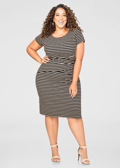 Plus Size Textured Stripe Sheath Dress Curvy Women Fashion, Fashion Models, 50 Fashion, Fashion Styles, Plus Size Skirts, Plus Size Outfits, I Dress, Sheath Dress, Church Dresses