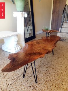 Before & After: Live Edge Adds Life as Coffee Table | Apartment Therapy