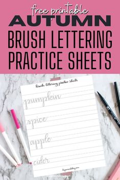 Printable lettering practice worksheets for Fall. Practice your brush lettering with Fall worksheets you can download for free. #byamandakay #fall #lettering #worksheet #printable