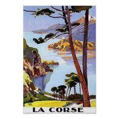 La Corse, France, affiche vintage de voyage