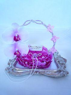 porte alliance fleur orchidée ton violet pâle violet rose pâle blanc fleur…