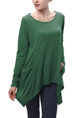 Urban CoCo Women's Swing Pocket Tunic Long Sleeve Handkerchief Top (2XL, Dark green) *** Click image for more details. We are a participant in the Amazon Services LLC Associates Program, an affiliate advertising program designed to provide a means for us to earn fees by linking to Amazon.com and affiliated sites.