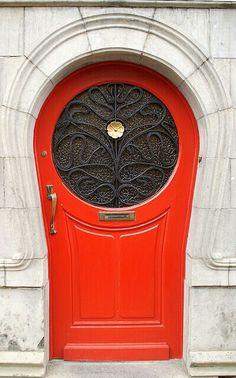 Stunning red vintage door