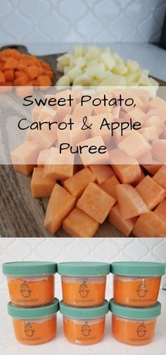 Sweet Potato, Apple & Carrot Puree for your little one! Sweet Potato, Apple & Carrot Puree for your little one! Homemade baby food recip… Sweet Potato, Apple & Carrot Puree for your little one! Carrot Baby Puree, Baby Carrot Recipes, Baby Puree Recipes, Pureed Food Recipes, Homemade Baby Foods, Baby Food Recipes, Baby Recipes With Carrots, Apple Recipes For Babies, Baby Food Puree