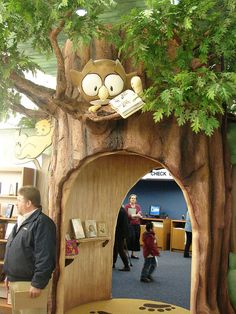 walk-through tree - such a cute idea for a children's library