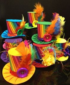 Funky Rainbow And Lime Green Mini Top Hat for Dress Up, Birthday, Tea Party or Photo Prop Crazy Hat Day, Crazy Hats, Mad Hatter Hats, Mad Hatter Tea, Candy Land Party, Balloon Hat, Dinosaur Hat, Diy Hat, Halloween Disfraces