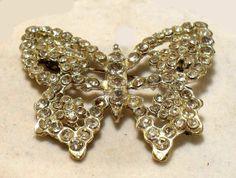 Filigree Silver-tone Rhinestone Vintage Butterfly