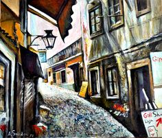 ARTFINDER: Street in Sintra by Alex Solodov - The cityscape painting scenery featuring old town Sintra, famous historical place in Portugal. Available as fine art print limited edition of 20. Originally ...
