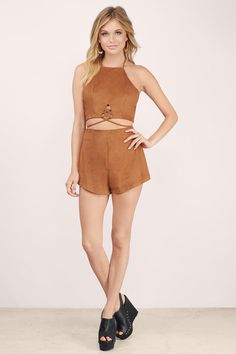 As One Faux Suede Romper