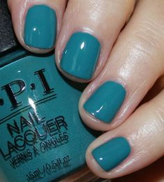 Teal me more opi gel polish, cute nail polish, nail polish colors, cute nai Cute Nail Polish, Opi Nail Polish, Opi Nails, Nail Manicure, Cute Nails, Pretty Nails, Teal Nail Designs, Colorful Nail Designs, Colourful Nails