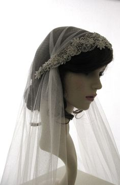 Vintage style veil -  couture bridal cap veil -1920s wedding  veil - Adorable. £185.00, via Etsy.