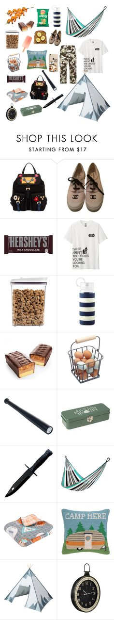 """Let's Go Camping!! ⛺"" by hooooooray13 ❤ liked on Polyvore featuring Prada, Chanel, Hershey's, Uniqlo, OXO, Kate Spade, Dot & Bo, Yellow Leaf Hammocks, Greenland Home Fashions and Peking Handicraft"