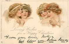 ■ Tuck DB...       pair of angels each side of card,   artist: Frances Brundage unsigned  (first used 24/12/1903)