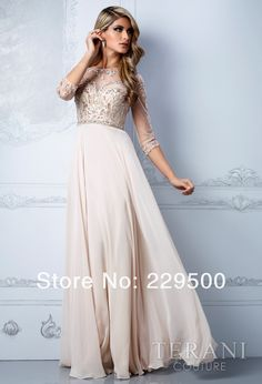 2013 New Arrival Beige Long Chiffon Beading Crystal Prom Dresses Party Formal Gown 3/4 Sleeves Evening Dress-in Evening Dresses from Apparel...