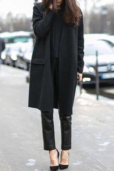 Black Turn Down Neck Long Sleeve Coat