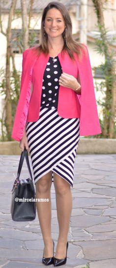 Look de trabalho - look do dia - moda corporativa - look executiva - work outfit - office - style - mix de estampas - mix and match - poá e listras - polka dots - stripe