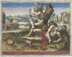 Raphaël Sadeler (I)   Melancholisch temperament, Raphaël Sadeler (I), 1583   Een naakte vrouw met lange haren zit handenwringend voor een dode boom. Ze personifieert de mensen met een melancholisch temperament. Voor haar ligt een gestorven naakte man op de grond. Rond hen ligt gebroken huisraad, waaronder aardewerk. Rechtsachter enkele verlaten huizen. Linksachter een charlatan op een podium voor een herberg. Bovenaan links, midden en rechts tekens van de dierenriem: Stier, Maagd en…