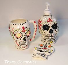Day of the Dead Skull Pump Dispenser for Lotion or Soap. $35.00, via Etsy.