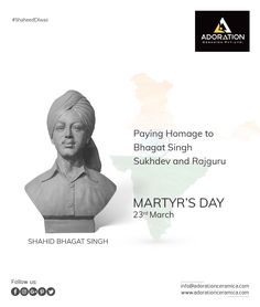 Paying homage to Bhagat Singh, Sukhdev, and Rajguru. Martyr's Day Martyrs' Day, Bhagat Singh, Diy Wall Painting, Vitrified Tiles, Tile Manufacturers, Social Media Design, Floor Decor, Banner, Fat