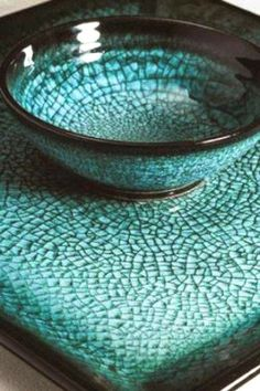 Stephen Roberts 2 - this is one of the most beautiful crackled glazes I've seen / turquoise / aqua and teal