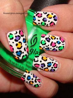 Crazy Nail Art, Cute Nail Art, Cute Nails, Pretty Nails, My Nails, Leopard Nail Art, Leopard Print Nails, Rainbow Nail Art, Gel Nail Art Designs