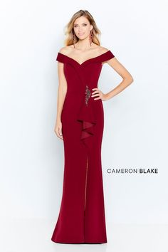 Cameron Blake by Mon Cheri - 120614 Beaded Off-Shoulder Sheath Dress – Couture Candy Cameron Blake, Gala Dresses, Bride Dresses, Terani Couture, Column Dress, Perfect Prom Dress, Mermaid Skirt, Mothers Dresses, Stretch Dress