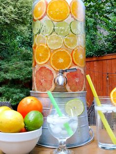 Citrus Infused Water is Called Spa Water, Nature's Soda. One of onthegobites 6 Labor Day Food Ideas