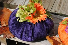 Soft Sculpture Pumpkin with flowers by ColeenO on Etsy, $10.00
