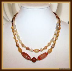 Carved Carnelian Multi Gemstone 2 Strand Necklace - Jade Opal Jasper Rutile Quartz - Magnetic Clasp - OOAK Scaral Chakra Statement Necklace -    by TheUneekBouteek