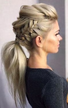 DIY Ponytail Ideas You're Totally Going to Want to 2019 Adorable Ponytail Hairstyles; Classic Ponytail For Long Hair; Dutch Braids To A High Pony;High Wavy Pony For Shoulder Length Hair Cool Braid Hairstyles, Easy Hairstyles, Wedding Hairstyles, Beautiful Hairstyles, Style Hairstyle, Hairdos, Funky Hairstyles For Long Hair, 1930s Hairstyles, Evening Hairstyles