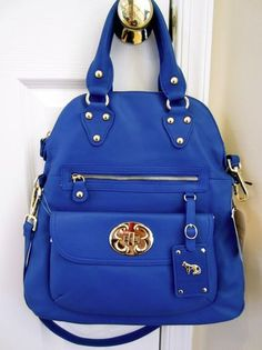 EMMA FOX Leather Electric Blue Lily Foldover Crossbody Bag