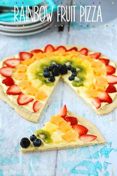 Rainbow Fruit Pizza by Wine and Glue plus 5 of This Year's BEST Rainbow Desserts!~ would have to find something to replace the kiwi but looks yummy other than that! Rainbow Desserts, Rainbow Fruit, Köstliche Desserts, Rainbow Pizza, Snacks, Snack Recipes, Dessert Recipes, Healthy Recipes, Yummy Treats