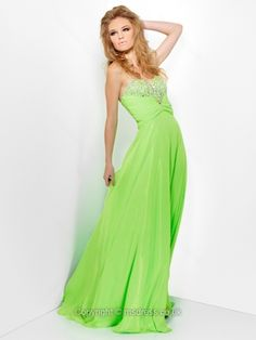 A-line Sweetheart Chiffon Floor-length Sleeveless Rhinestone Prom Dresses