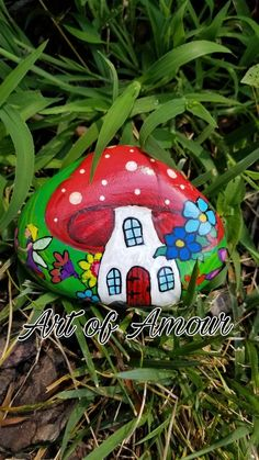 garden ideas mushrooms Items similar to Fairy Garden Hand Painted Stone, Fairy Painted Rock, Mushroom Garden Rock on Etsy Garden Painting, Pebble Painting, Pebble Art, Stone Painting, Painted Garden Rocks, Hand Painted Rocks, Rock Painting Ideas Easy, Rock Painting Designs, Stone Crafts