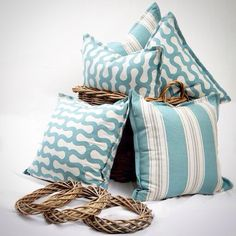 """Duck Egg Blue Geometric called """" Shirley"""" and co-ordinating stripe printed onto a natural Colour base cloth , proving to be a very popular..."""