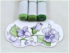 PTI Year of Flowers: Sweet Peas #3 (Debbie Olson) - Love that she shows the Copics she uses.