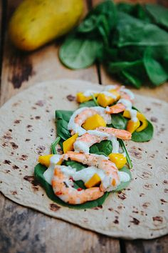 Healthy Shrimp and Mango Wraps - easy and delicious! (I personally would omit the mayonnaise cause I hate the stuff)