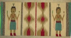 Authentic Vintage Navajo Hand Spun Wool Yei Rug 18  x 37.5