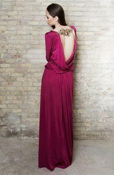 Vestido largo de punto de seda con espalda bordada - Long knit dress with embroidery | SAYAN