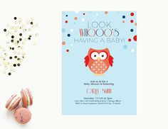 Word Template baby shower Invitation   Editable Word Template   Instant download    blue and red   owl