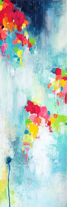 """Baby Shower"" Amira Rahim - original abstract 12x30"" canvas"