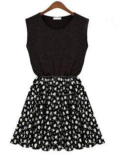 Black Chiffon Floal Dress